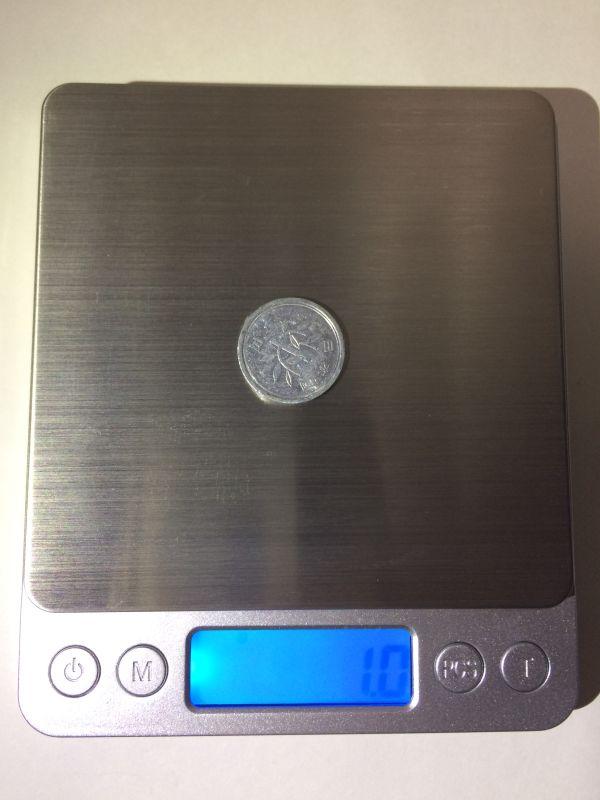 デジタルスケール 1円の重さ