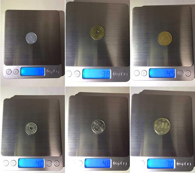 デジタルスケール 日本円硬貨の重さ