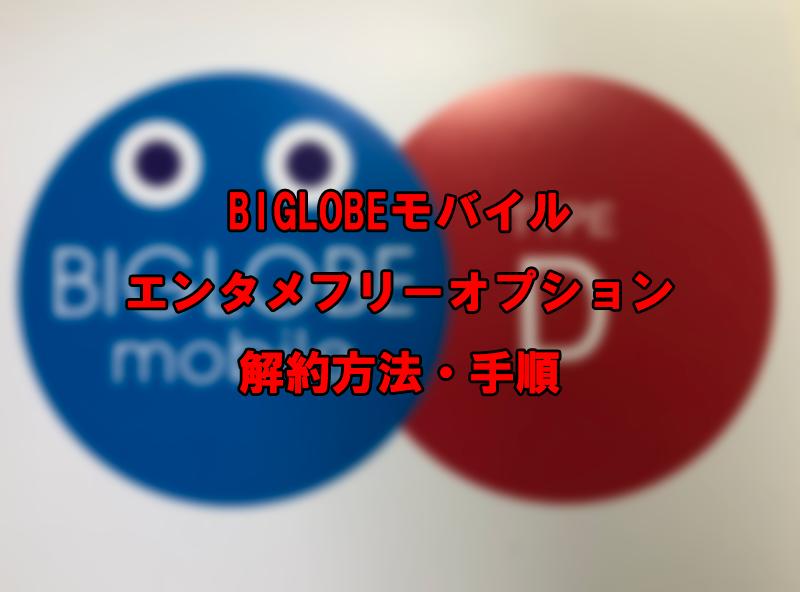 BIGLOBEモバイル エンタメフリーオプション 解約方法・手順